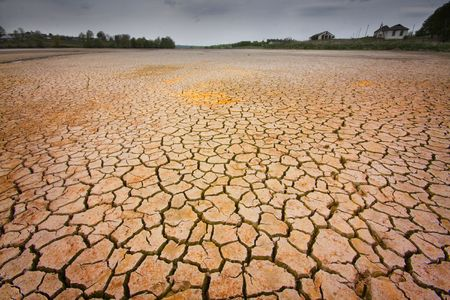 barrenness: cracked earth - concept image of global warming