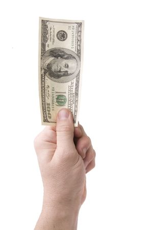 100 dollar bills in the hand Stock Photo