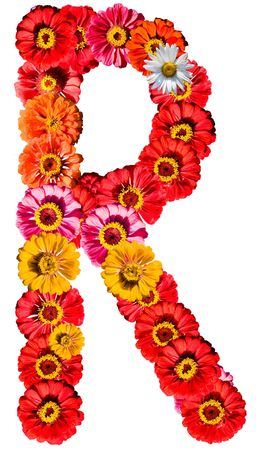 Alphabet collection made from different flowers- R photo