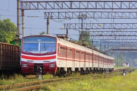 High speed passenger train on the way photo