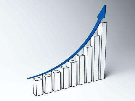 Three-dimensional graph to finance growth photo