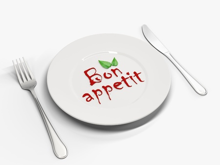 bon: Image plates with the text of ketchup