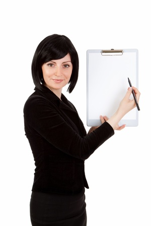 business woman with a tablet in hands  shows on a white background photo