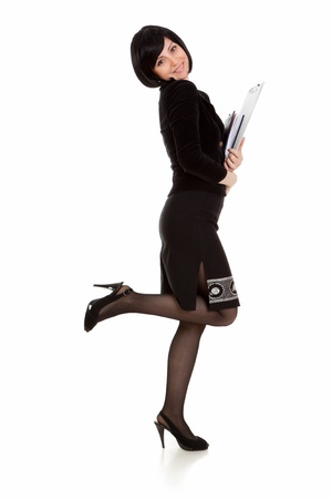 businesswoman with notebook in hand on white background photo