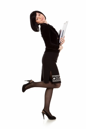 businesswoman with notebook in hand on white background Stock Photo - 13339339