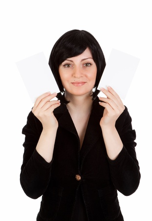 business woman show in two cardboard cards photo