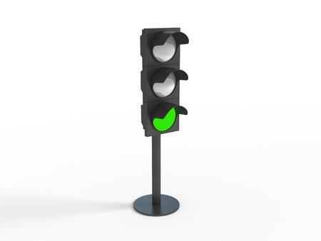 Three-dimensional image of traffic lights photo