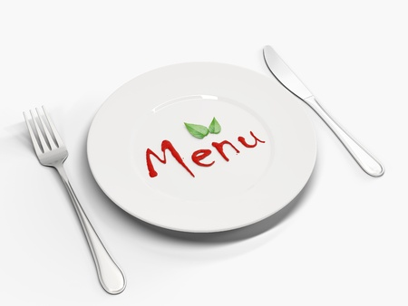 lunch room: Image plates with the text of ketchup
