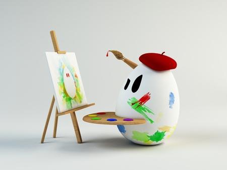 facial painting: 3d egg artist