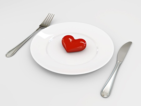 Three dimensional image of the heart on a plate  Valentine Stock Photo - 13339048