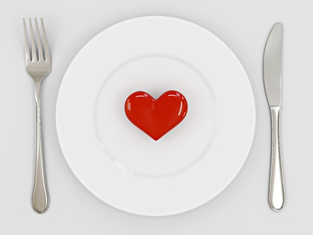 Three dimensional image of the heart on a plate  Valentine photo