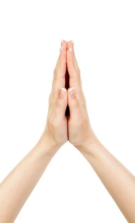 manos orando: mujer