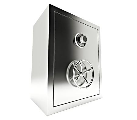 safe money: steel bank safe isolated on white Stock Photo