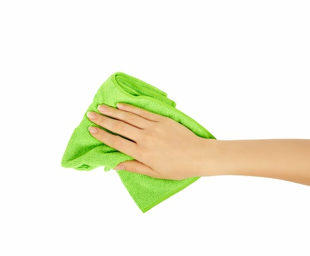wipes: hand holding a sponge isolated on white background Stock Photo