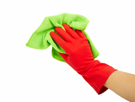 Hand in rubber glove with sponge isolated on white background