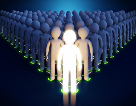 3d Luminous man  Leadership  First in a pyramid photo