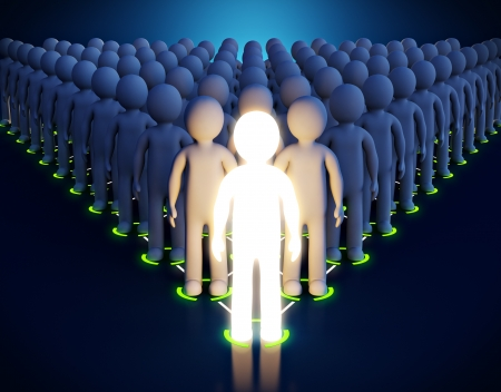 team leader: 3d Luminous man  Leadership  First in a pyramid