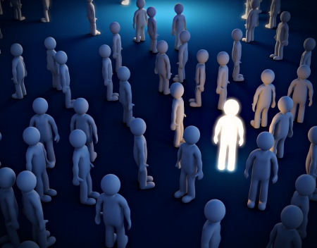 individualism: Luminous man in the crowd  Symbol of individualism