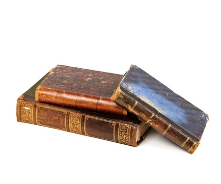stack of old books on white background Stock Photo - 14523988