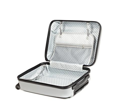 suitcases: Geopend reistas geïsoleerd op witte achtergrond Stockfoto