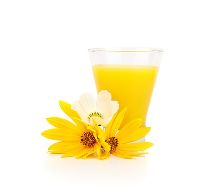 bracing: Orange juice and flowers on a white background