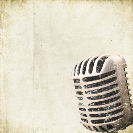 retro background with microphone Stock Photo - 14524859