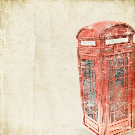 antique telephone: retro background with British phone booth Stock Photo