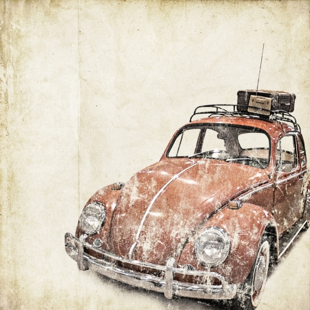 vintage postcard: retro background with old car