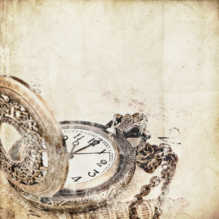 antique background: retro background with pocket Watch Stock Photo