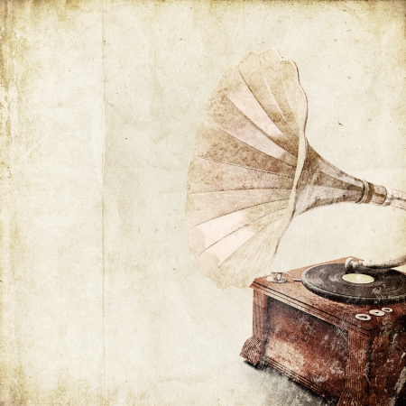 dj turntable: retro background with old gramophone