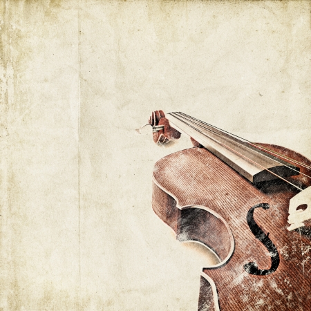 symphony orchestra: retro background with old violin Stock Photo