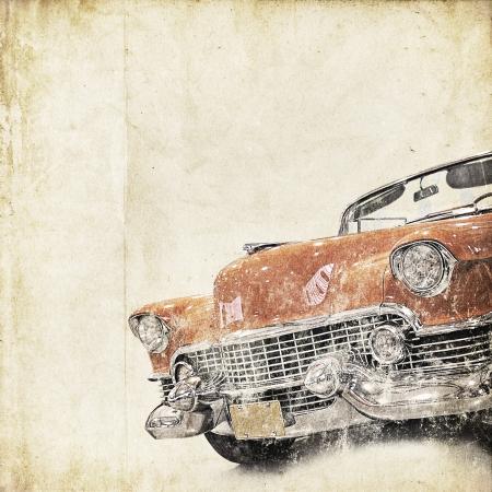 coche antiguo: retro de fondo con el coche viejo