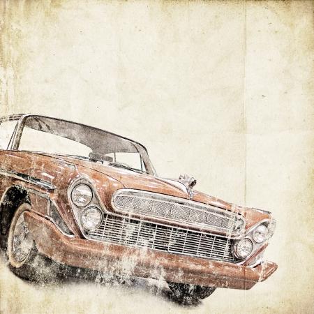 coche antiguo: fondo retro con el coche viejo Foto de archivo