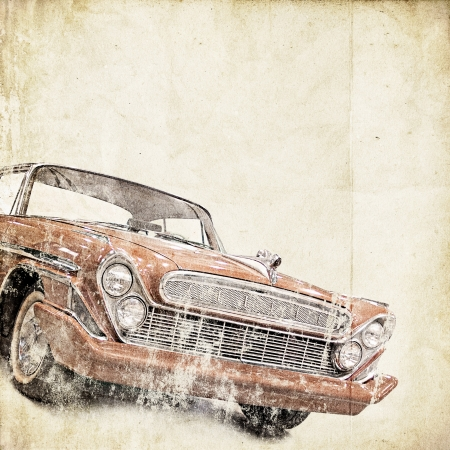 postcard background: retro background with old car