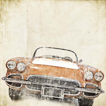 retro background with old car Stock Photo - 14530194