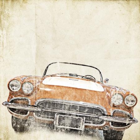 threadbare: retro background with old car