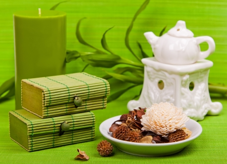 Set for spa and aromatherapy on a green background photo
