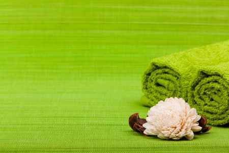 wellness background: beautiful kit for spa and aromatherapy on a green background Stock Photo