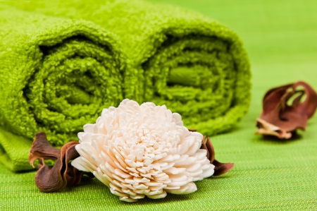 beautiful kit for spa and aromatherapy on a green background photo