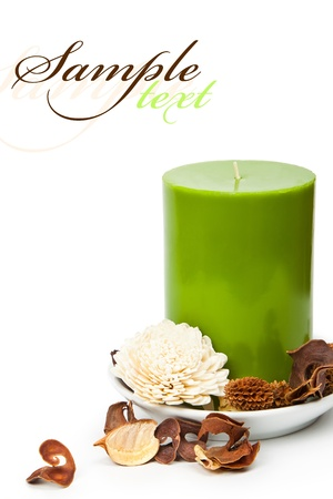 spa candle: beautiful set for spa and aromatherapy on a white background