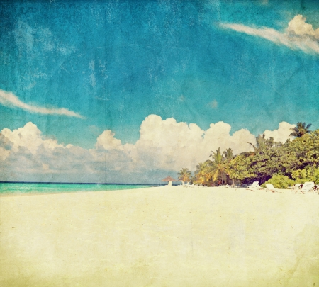 vintage photo beach  Maldives Stock Photo - 14529426