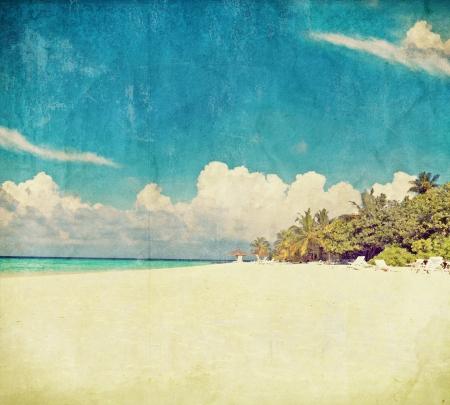 postcards: vintage photo beach  Maldives