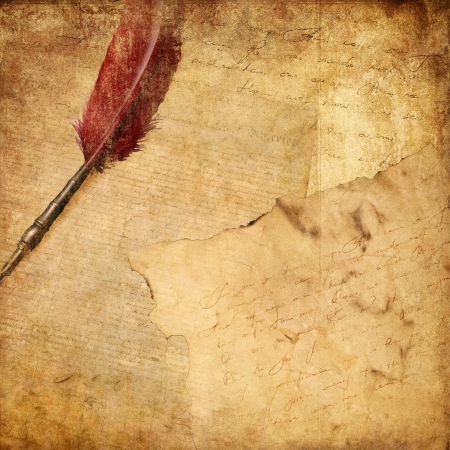 old letters: vintage background with a pen and writing Stock Photo
