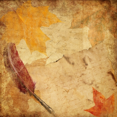 vintage background with letter and autumn leaves  photo