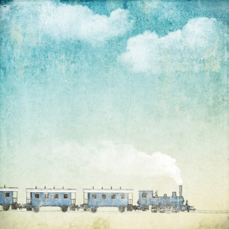 yellowed: vintage background with train