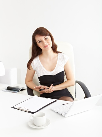 Beautiful  businesswoman working  in brightly lit office and smiling photo