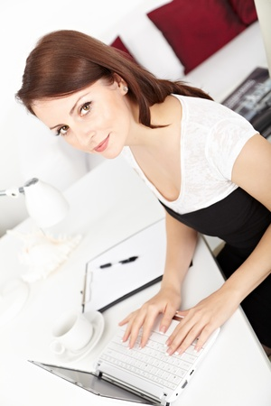 Beautiful  businesswoman working on laptop  in brightly lit office and smiling photo