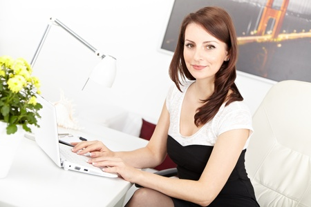 Beautiful  businesswoman working on laptop  in brightly lit office and smiling Stock Photo