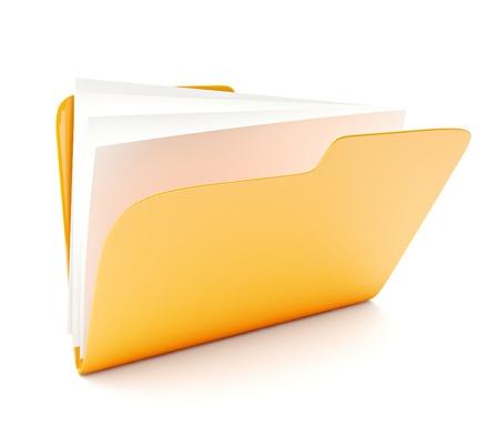 open yellow folder 3d icon isolated on white photo