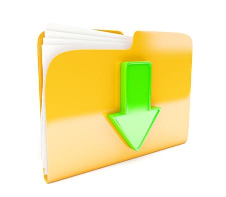 carpeta: icono de la carpeta amarilla con el signo verde 3d descarga de flecha aislado en blanco